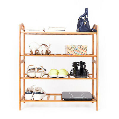 4 Tier Bamboo Shoe Rack Entryway Shoe Shelf Holder Storage Organizer Furniture
