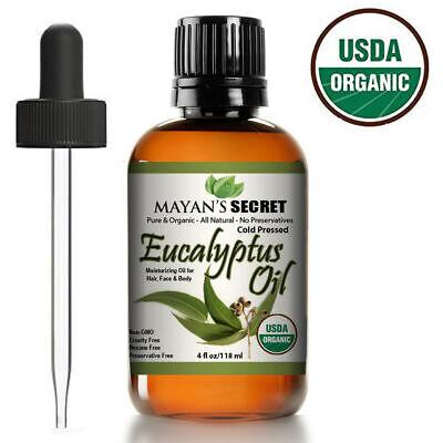 100% Pure USDA CERTIFIED ORGANIC Eucalyptus Essential Oil Huge 4oz Glass Bottle