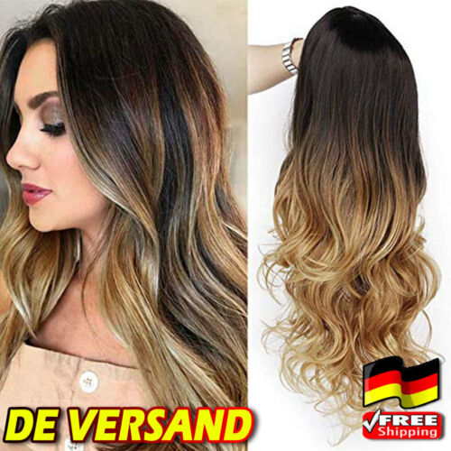 DE Damen Gold Hair Balayage schwarz lange Mode Brown ombre WIG Wavy Frisur