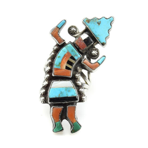 Zuni Multi-Stone Inlay Silver Rainbow God Ring attributed to Julalita Lamy
