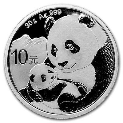 2019 Silver Chinese Silver Panda Coin 30 Gram 999 Fine Silver BU - In Capsule ()