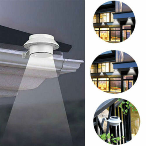 3-LED Solar Powered Gutter Light Outdoor/Garden/Yard/Wall/Fe