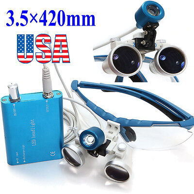 Blue Dental Loupes Surgical Medical Binocular 3.5x 420mm Led Head Light Lamp Usa