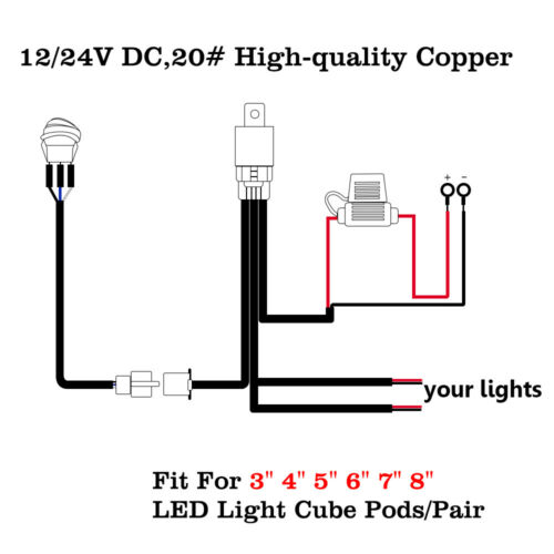 Wiring Harness Kits 12V ON-OFF Switch Relay Heavy Duty LED