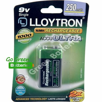 1 x Lloytron 9V PP3 Rechargeable Battery 250 mAh 6LR61