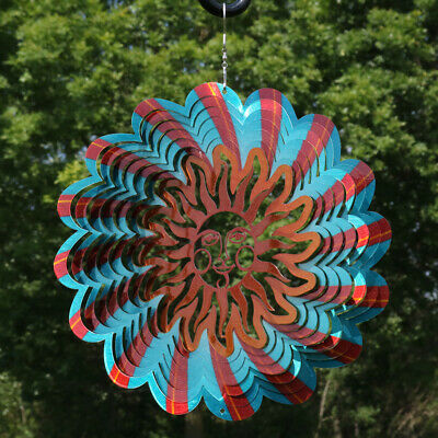 Sunnydaze Reflective 3D Multi-Color Sun Whirligig Wind Spinner - 12-Inch