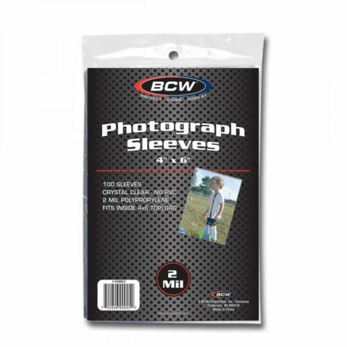 1 Pack 100 BCW 4x6 Photo Soft Poly Sleeves Acid Free Print Holder Archival