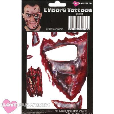 CYBORG TEMPORARY FACE TATTOO HALLOWEEN FANCY DRESS COSTUME ACCESSORY MAKE UP](Cyborg Halloween Makeup)