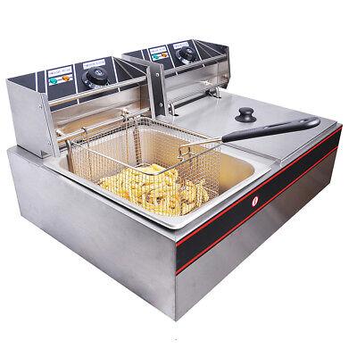 5000W Electric Countertop Deep Fryer Dual Fry Tank Commercial Restaurant 12L VAT
