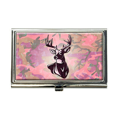 Deer Hunting Pink Camouflage Business Credit Card Holder Case