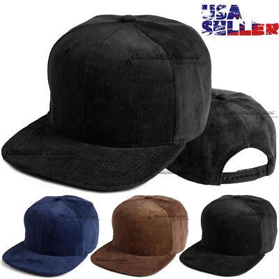 - Corduroy Cord Hat Baseball Cap Plain Blank Flat Brim Vintage Snapback Adjustable