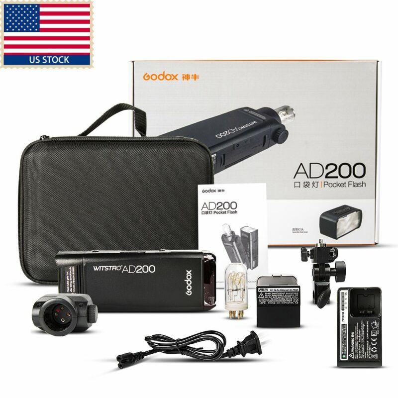 Godox AD200 2.4G TTL 1/8000s HSS 2900mAh Double Head Pocket Flash Speedlite US