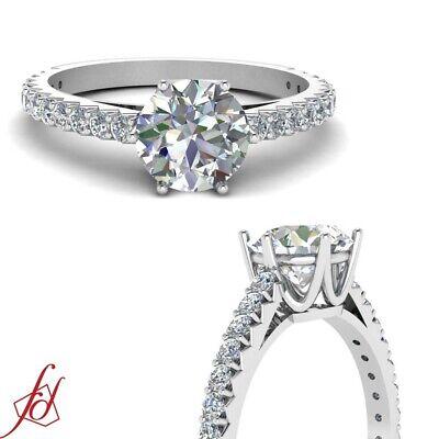 1.35 Ct Round Ideal Cut H-Color Diamond Mount Rim Engagement Ring Pave Set GIA