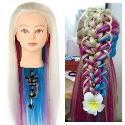 Salon 24'' Hairdressing Colorful Long Hair Mannequin Doll Training Head + Clamp