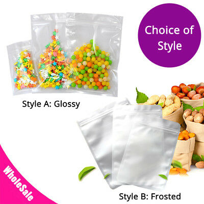 - Assorted Sizes Glossy & Frosted Clear Plastic Mylar Flat Zip Lock Bag SM06