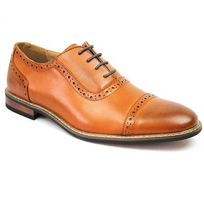 Cap Toe Lace Up Cap (New Men's Brown Dress Shoes Cap Toe Lace Up Oxfords Leather Lining Parrazo )