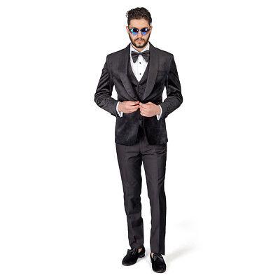 BLACK Shawl Lapel VELVET 3Piece Vested Slim Fit Tuxedo 1Button Black Pants AZAR  Black 3 Button Tuxedo