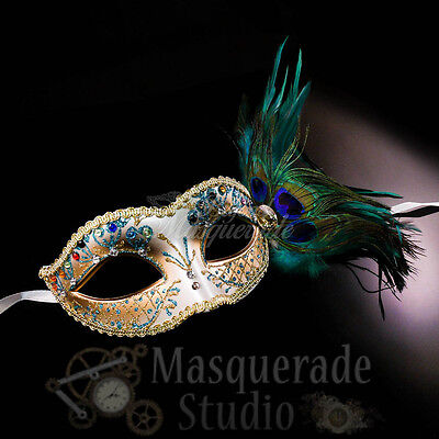 Women's Peacock Feathered Venetian Mardi Gras Masquerade Mask [Turquoise/Gold] - Peacock Masks