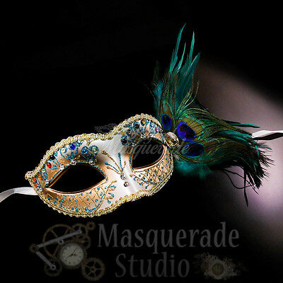 Women's Peacock Feathered Venetian Mardi Gras Masquerade Mask - Peacock Masquerade Mask