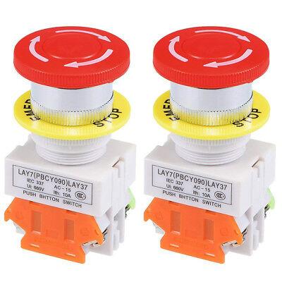 2pcs Red Mushroom Emergency Stop Push Button Switch No Nc 22mm Latching-type