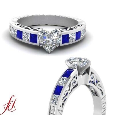 1.70 Ct Heart Shaped Diamond & Blue Sapphire Engagement Ring Channel Set SI1 GIA