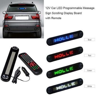 Dc 12v Car Led Programmable Message Sign Scrolling Display Board Remote H4b7