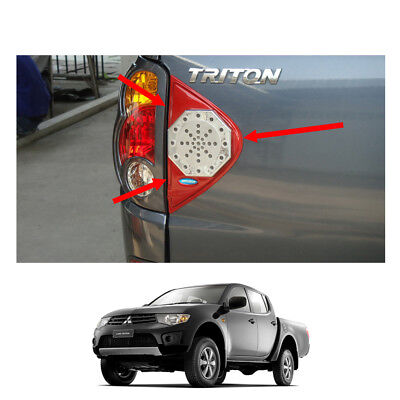 Rear Tailgate Break Light Lamp Trim 2 Pc Fits Mitsubishi L200 Triton 2006 - 2014 for sale  Shipping to Ireland