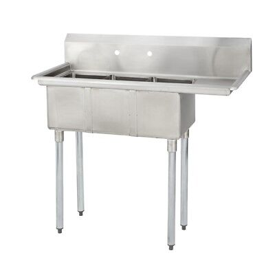 3 Three Compartment Commercial Stainless Steel Sink 44.5 X 19.8 G