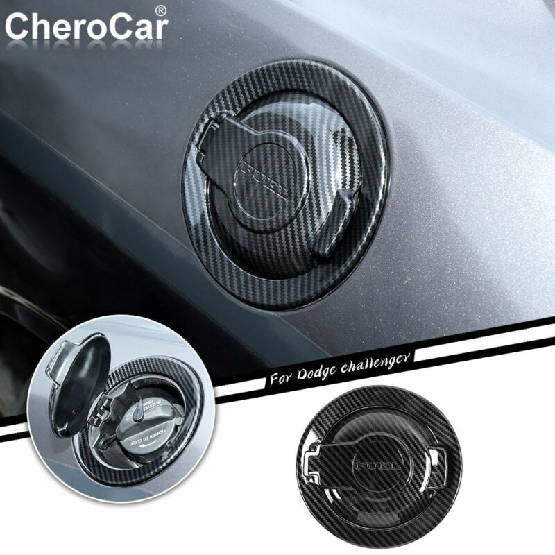 Carbon Fiber Fuel Tank Cover Trim Accessories Gas Door For Dodge Challenger 09+