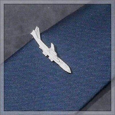 ISHOKUYA Unique Tie Clasps & Tacks Jumbo Jet Air Plane Shape Tie Clip/Pin/Bar