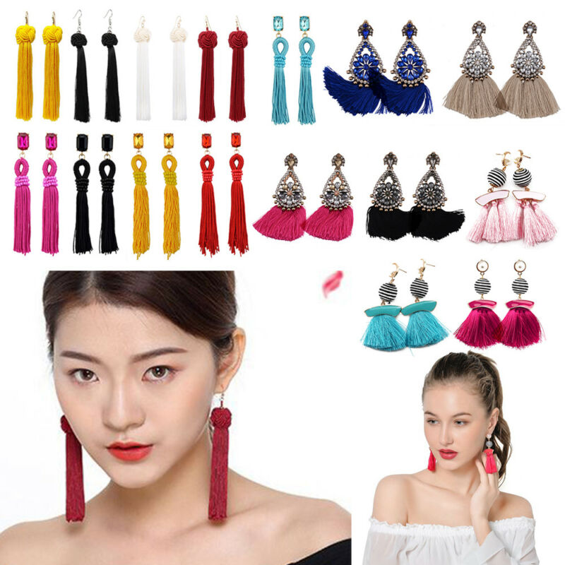 Women Fashion Rhinestone Long Tassel Dangle Earrings Fringe Drop Earrings Gift
