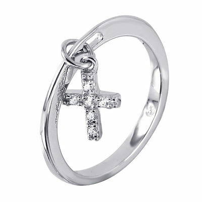 Accented Cross Ring (925 STERLING SILVER LADIES DANGLING CROSS RING W/ DIAMOND ACCENTS/ SZ 5 -)