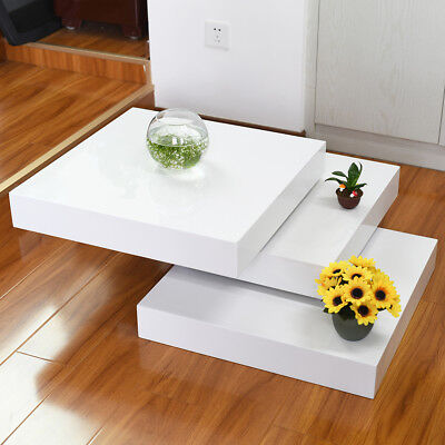 High Gloss Coffee Table 3 Layers Rotating Square Living Dining Room Furniture - Living Room Square Folding Table