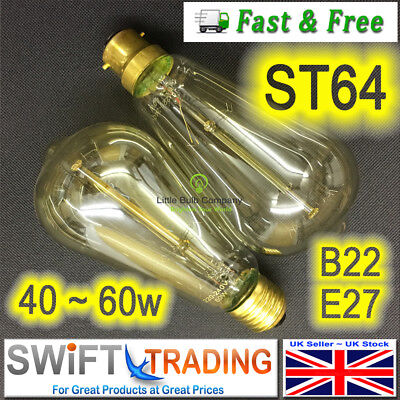 Vintage Edison Retro Light Bulb ST64 Teardrop Filament B22~ E27 40~ 60W Dimmable
