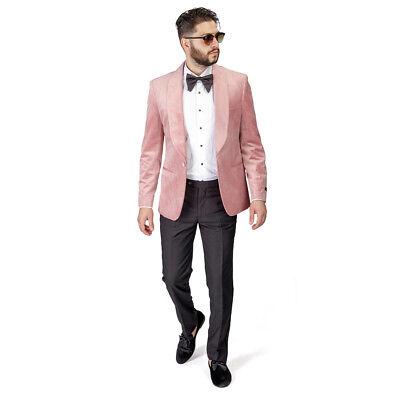 Shawl Lapel Velvet Tuxedo Pastel Pink 1 Button Suit Black Pants Flat Front AZAR - Pink Tuxedo