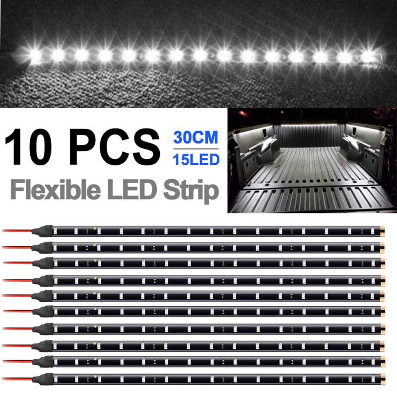 """10X Waterproof 12"""" 15SMD Flexible LED Strip Light 12V For Car Truck Boat White"""