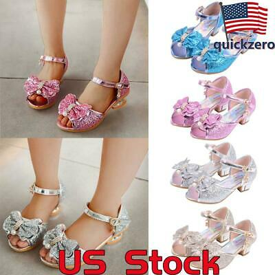 Kids Heel Shoes (Party Dress Kids Low Heel Shoes Girls Bowknot Buckle Shoes Princess Sandals)