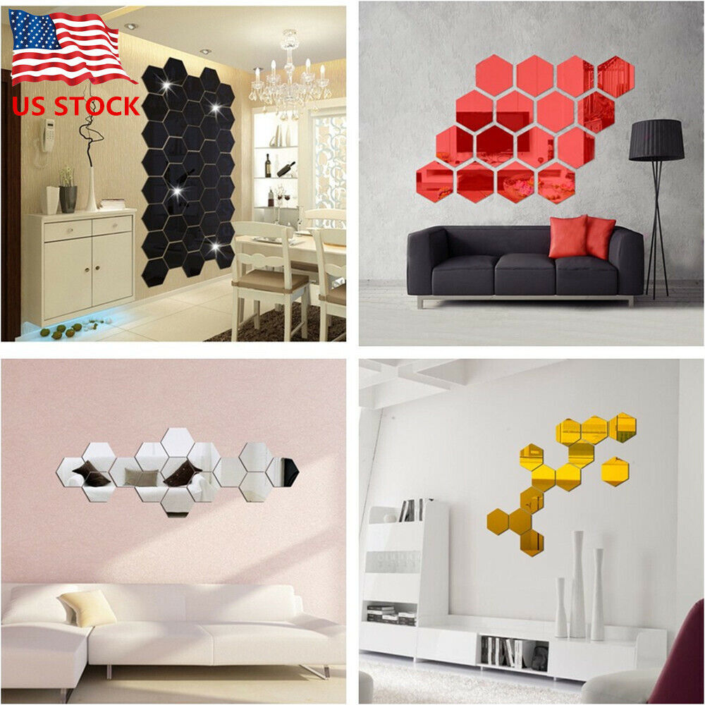 Home Decoration - 12Pcs 3D Hexagon Acrylic Mirror Wall Stickers DIY Art Wall Decor Stickers US