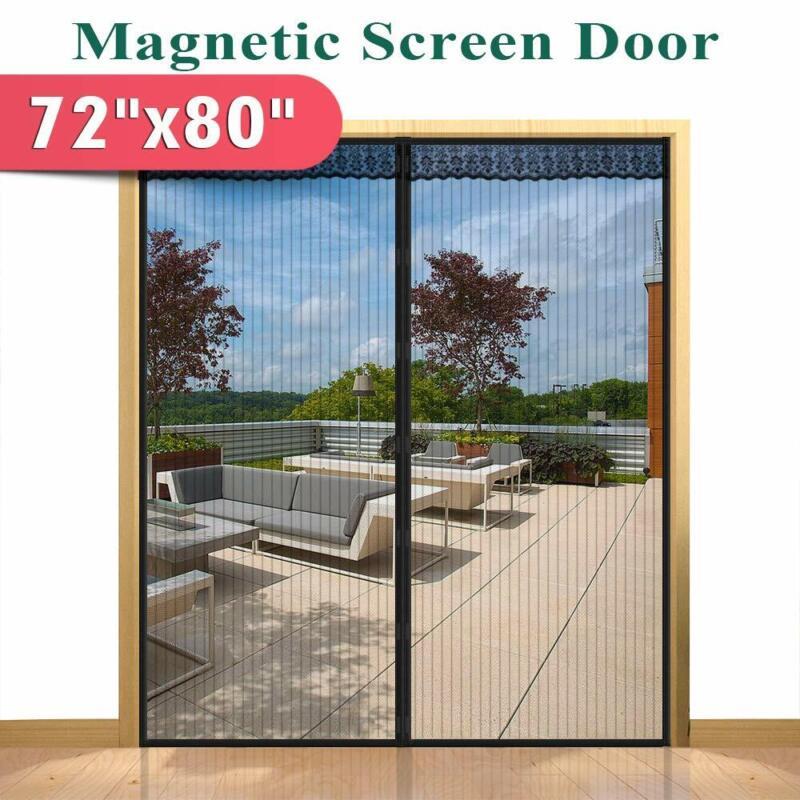 """72""""x 80"""" Hands Free Magnetic Screen Door for French Doors,Sl"""