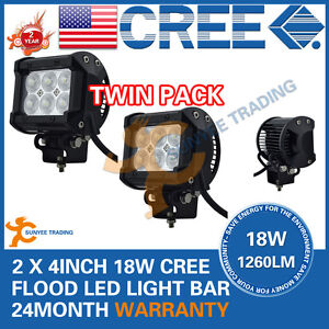 2x-4inch-18W-Cree-LED-Work-Light-Bar-Driving-Lamp-Flood-Truck-Offroad-UTE-4WD
