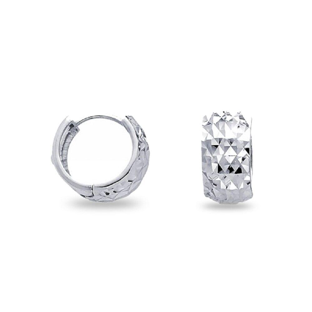 14K White Gold Wide Diamond Cut Huggie Hoop Earrings