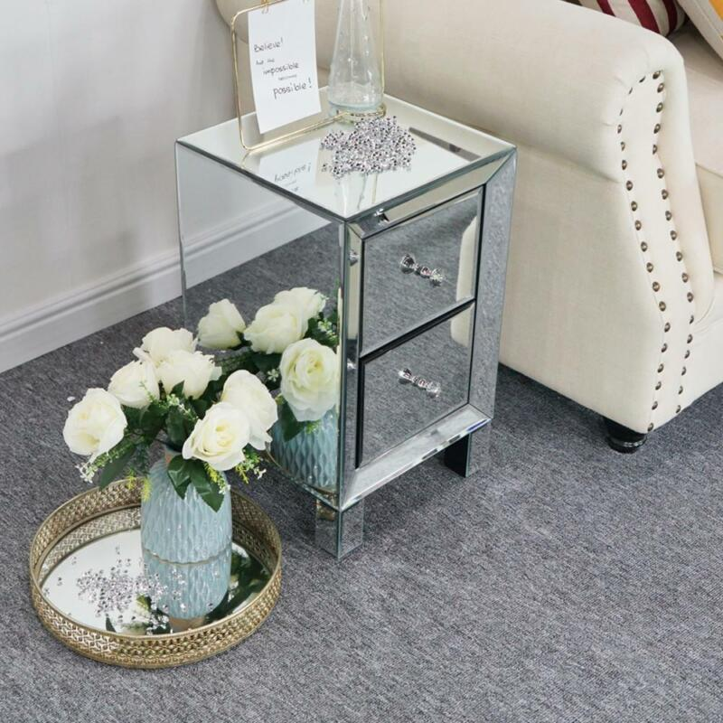 Modern Mirrored Accent Sofa Side End Table with 2 Drawers Nightstands Home Table