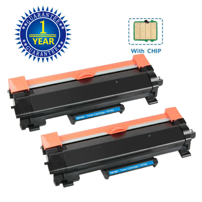 2PK High Yield TN760 TN730 Toner With IC Chip For Brother MFC-L2710DW HL-L2395DW