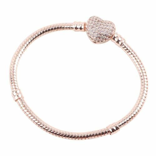 Pandora Authentic Rose Gold Chain Bracelet with HEART CLASP Charm Snake 590710