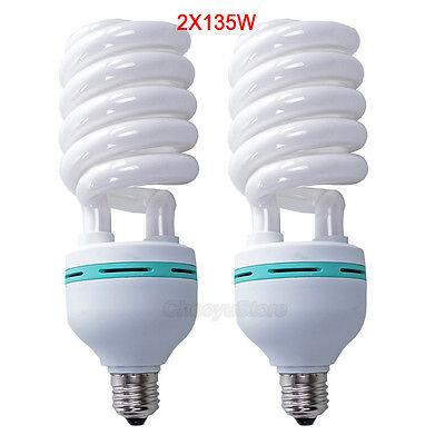 2x135w Daylight Bulbs Photo Lighting Studio Compact Fluorescent Lamp E27 5500K