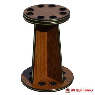 8 Cue Pool Stick Wood Floor Rack - English Oak ()