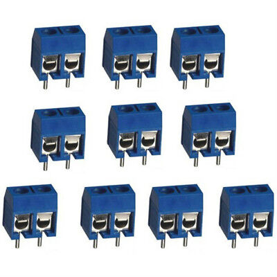 Hole Connector 10pcs 2pin Terminal Block Plug-in 5.08mm Pitch Through Hole