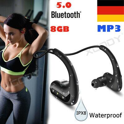 Tragbar Sports IPX8 Wasserdicht 8GB Schwimmen MP3 Musik Player mit Kopfhörer DE Tragbare Wasserdicht Mp3
