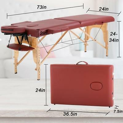 Massage Table Massage Bed Spa Bed 73 Long Portable 2 Folding W/ Carry Case - $84.99