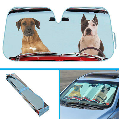2 Dogs Driving Car Sun Shade - Pitbull Boxer Windshield Sunshade UV Reflector